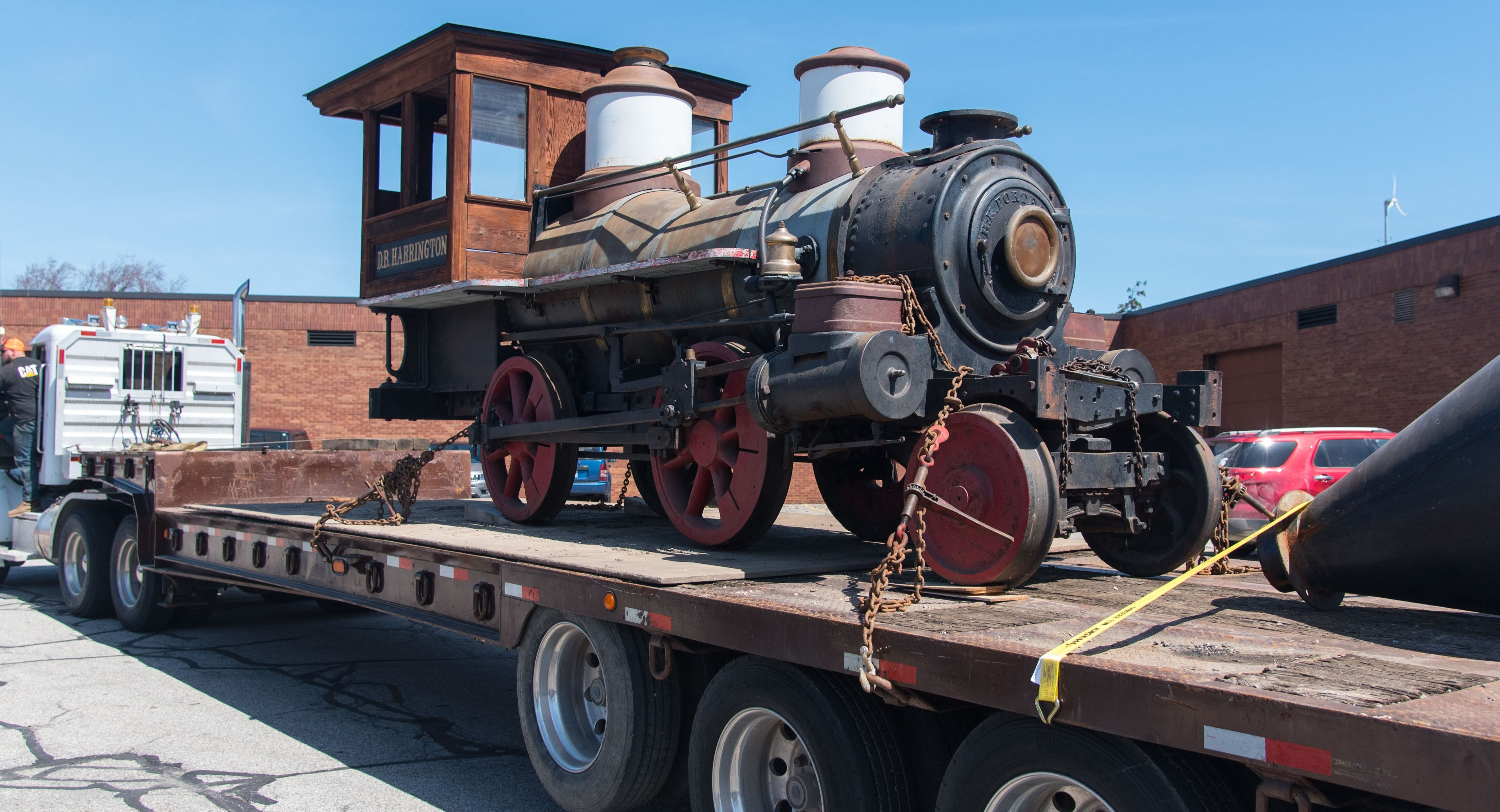 D.B. Harrington locomotive arrives on the St. Clair County Community College campus