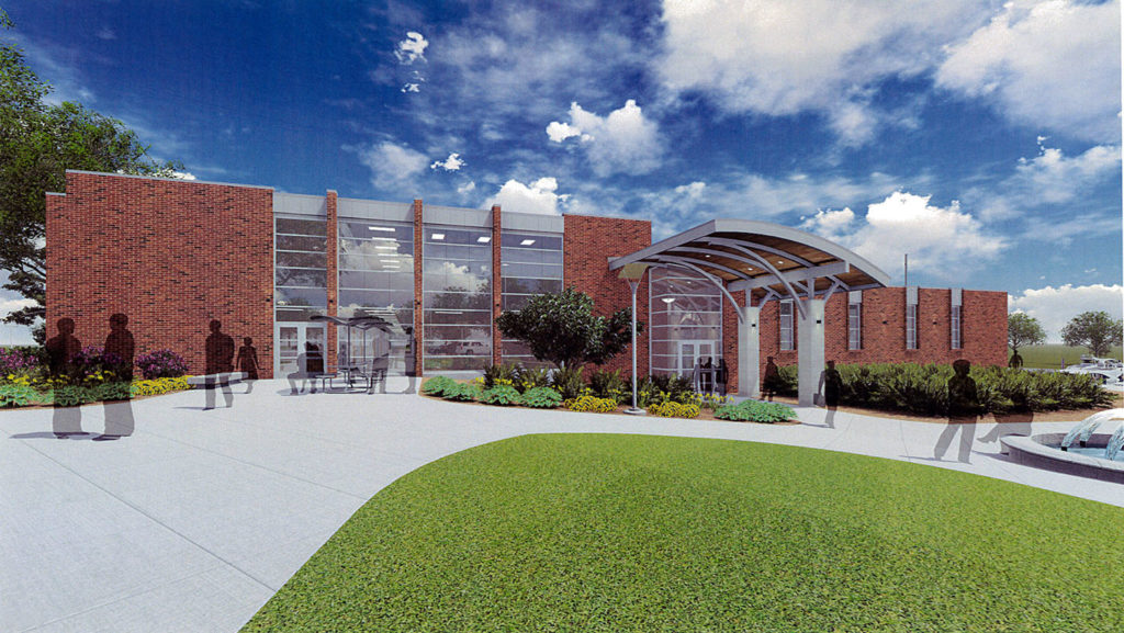 Architect's rendering of the west entrance to the renovated A.J. Theisen Building.