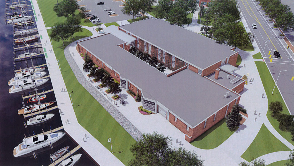 Aerial view of the renovated A.J. Theisen building is shown in this architect's rendering.