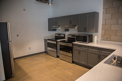 Kitchen area of housing