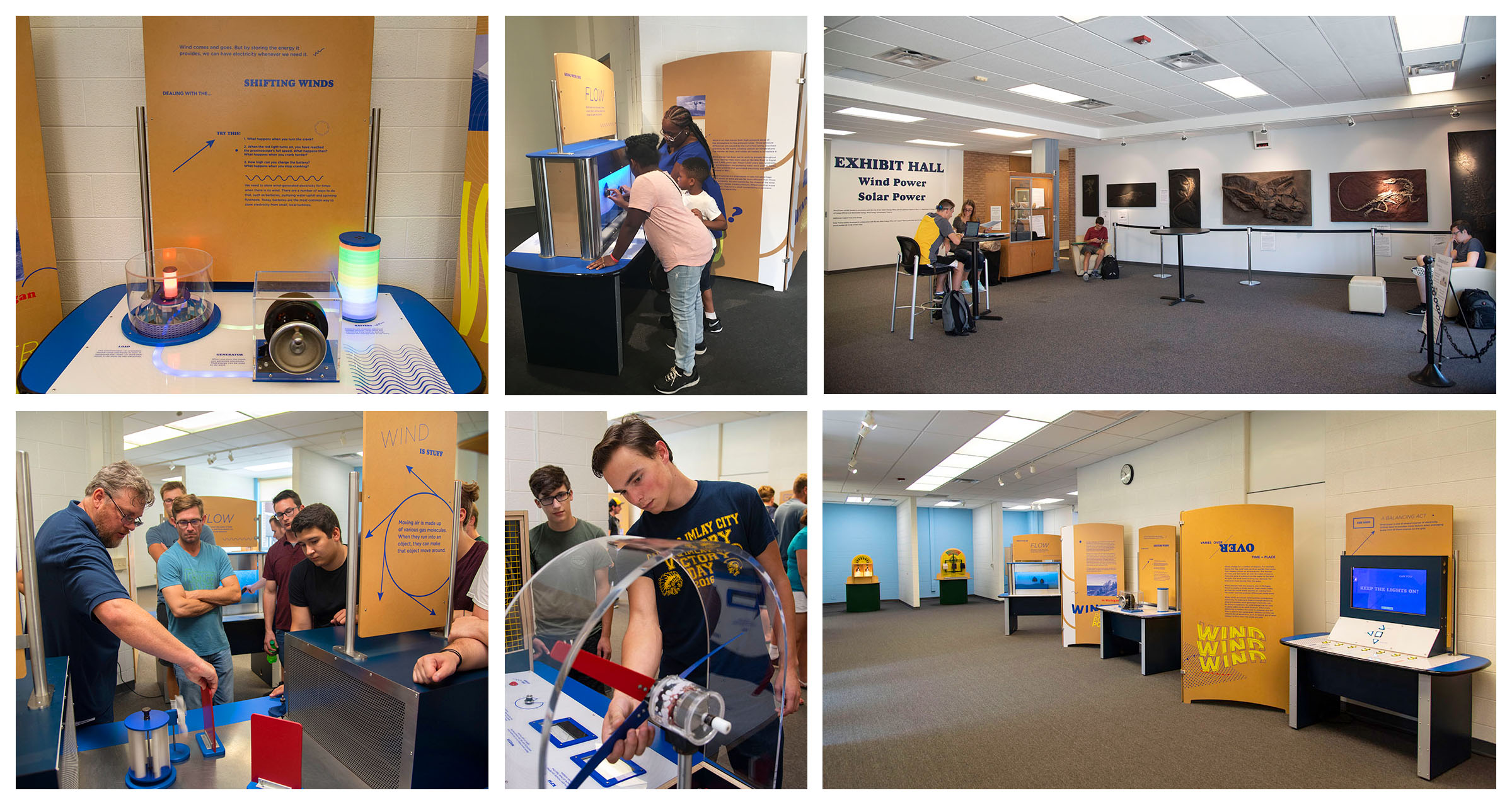 Collage of photos showing exhibits at the SC4 Experience Center.