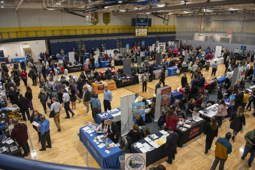 Employers meet students, alumni, and community members at the 2019 Career Fair in the SC4 Fieldhouse.