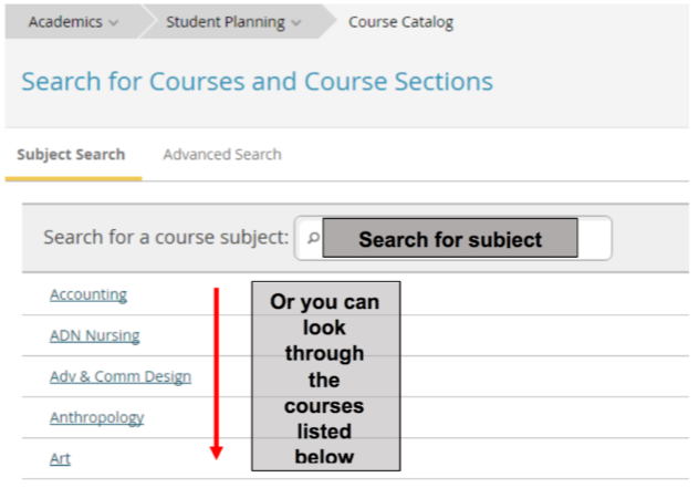 Search for Subject or you can look through the courses listed below illustration
