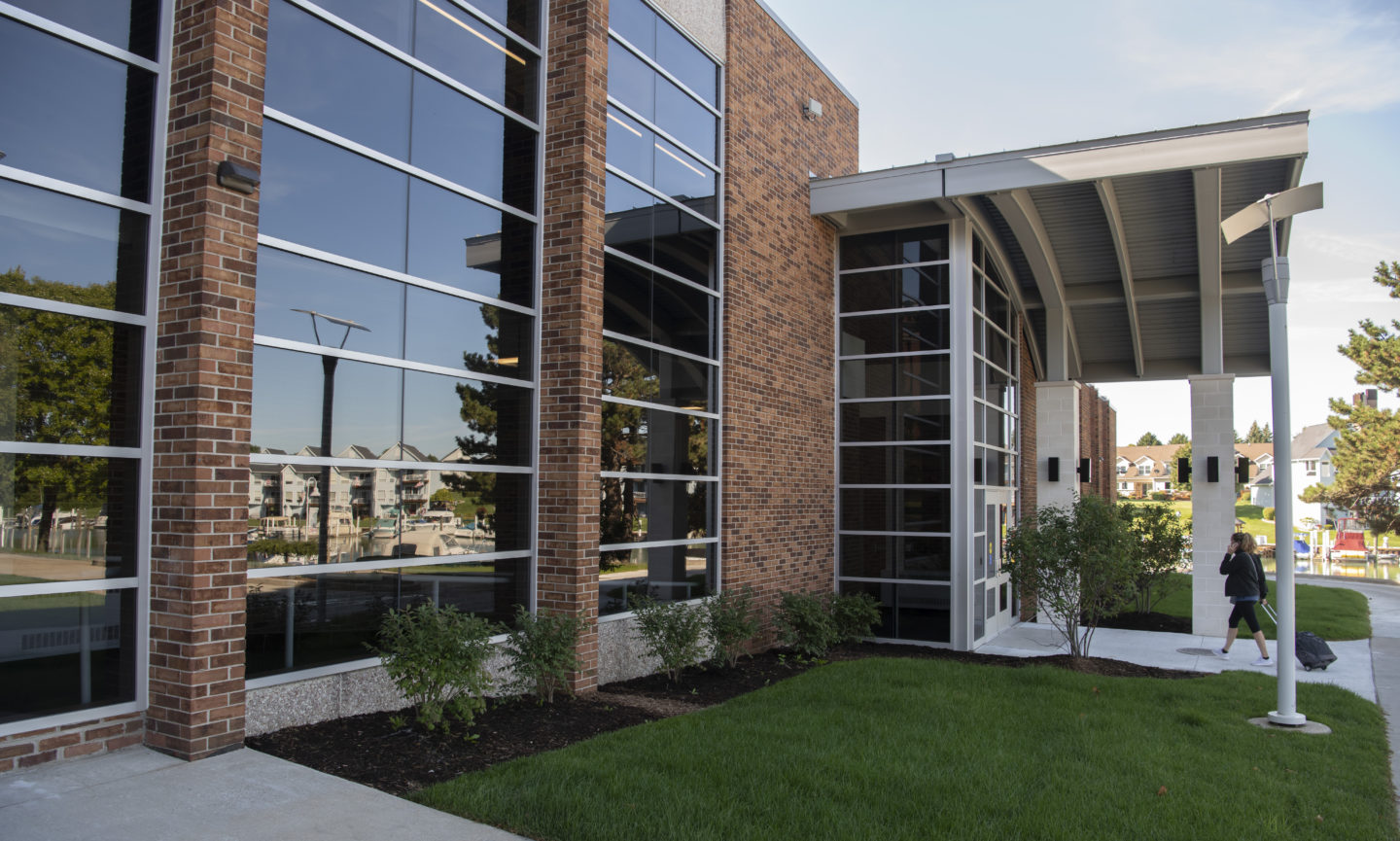 Photo of front of newly renovated Health Sciences Building.