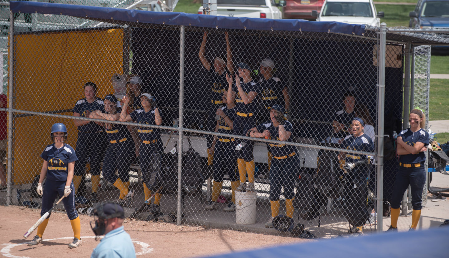 Softball in the dugout