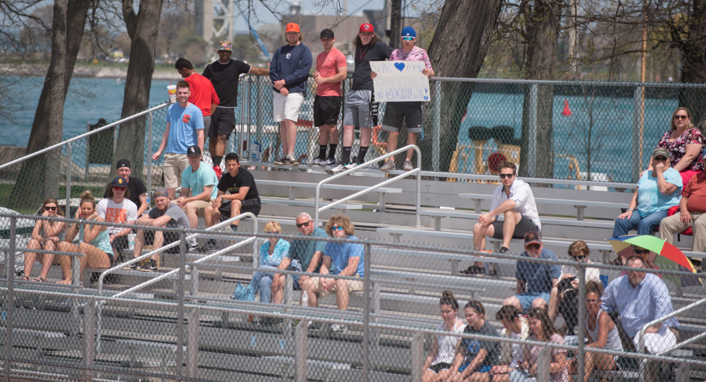 crowd watches a softball game